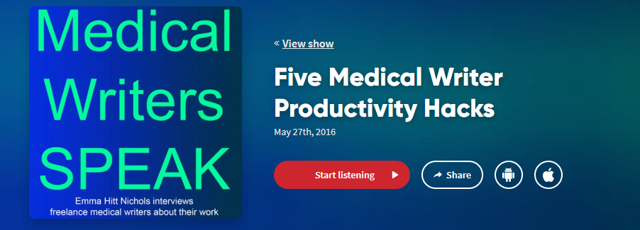 podcasts for health writers