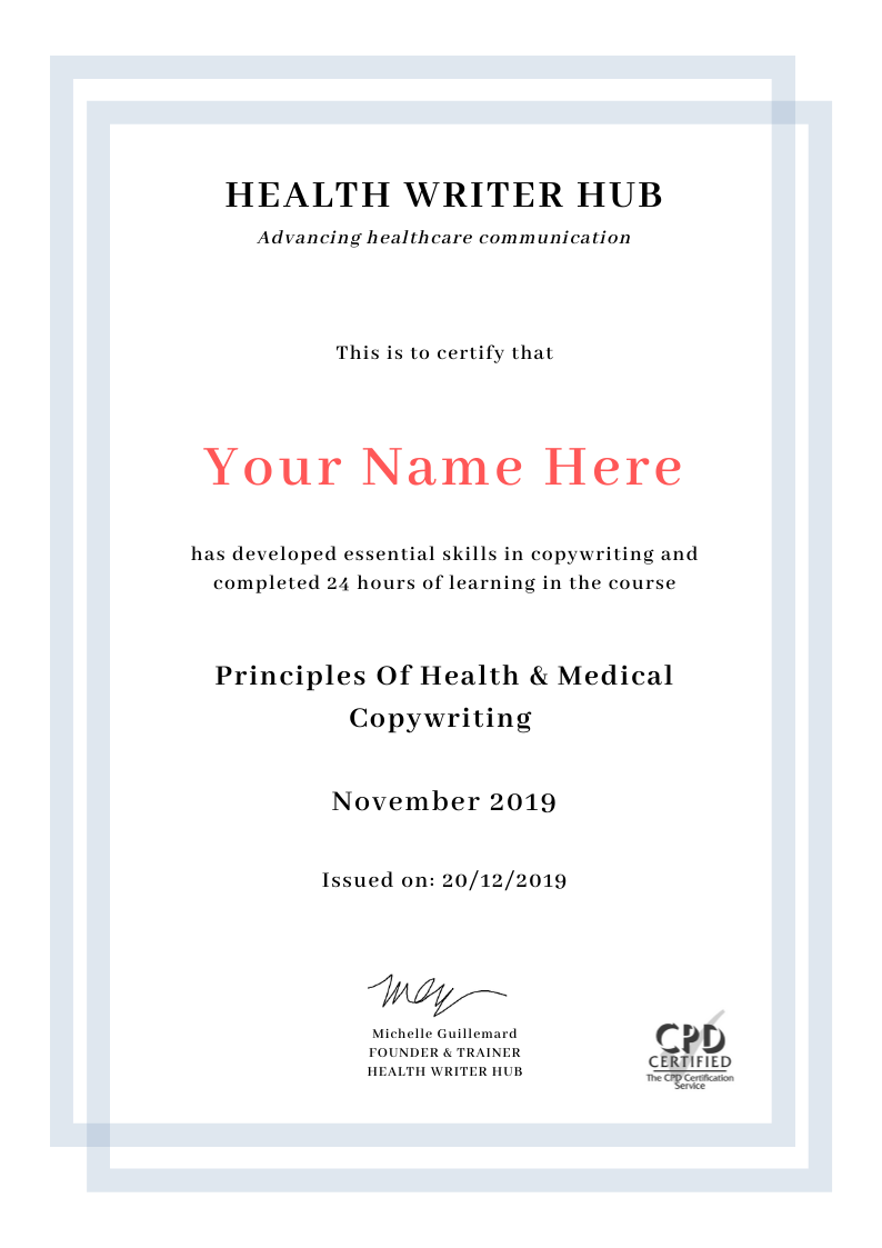medical copywriting course certificate