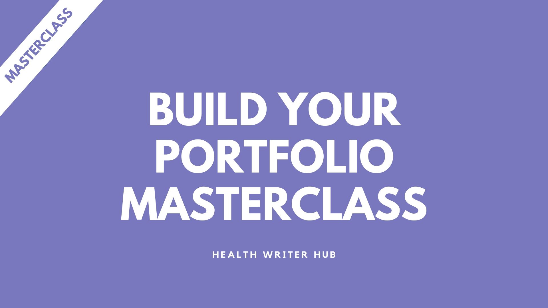 build your portfolio masterclass