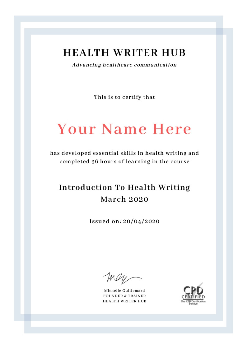 health writing course certificate