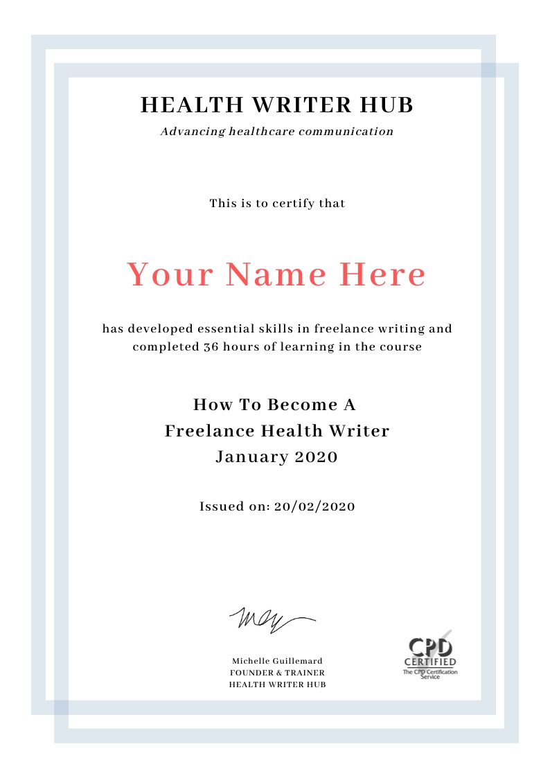 freelance medical writing course certificate