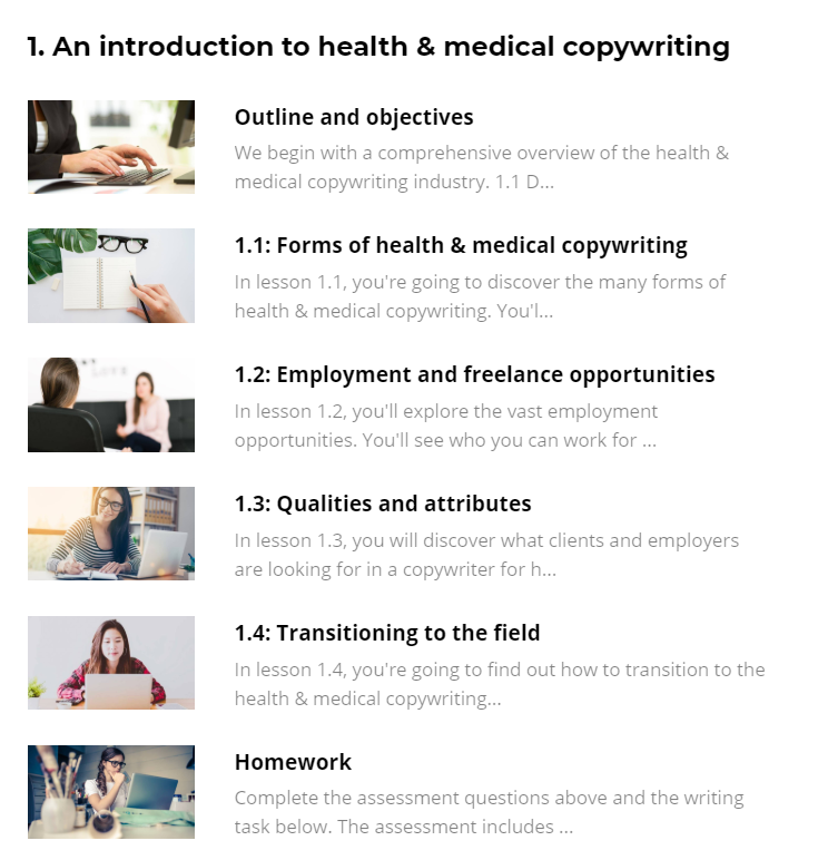 medical copywriting course