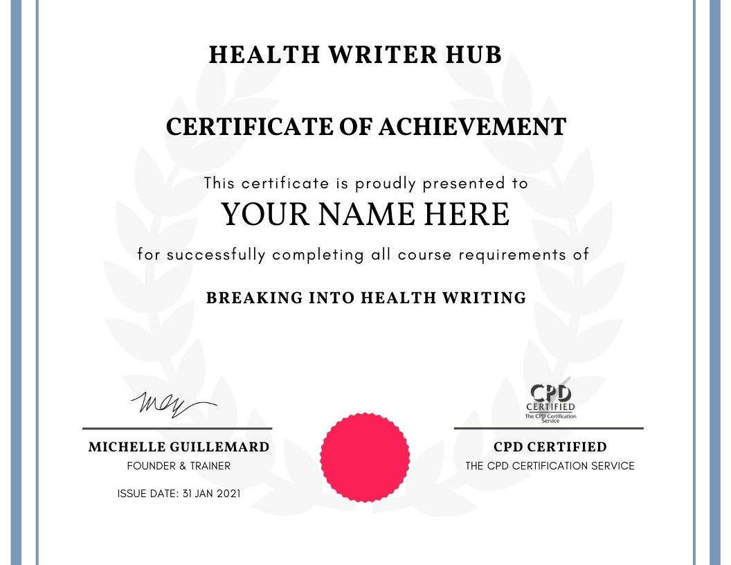 breaking into health writing course certificate