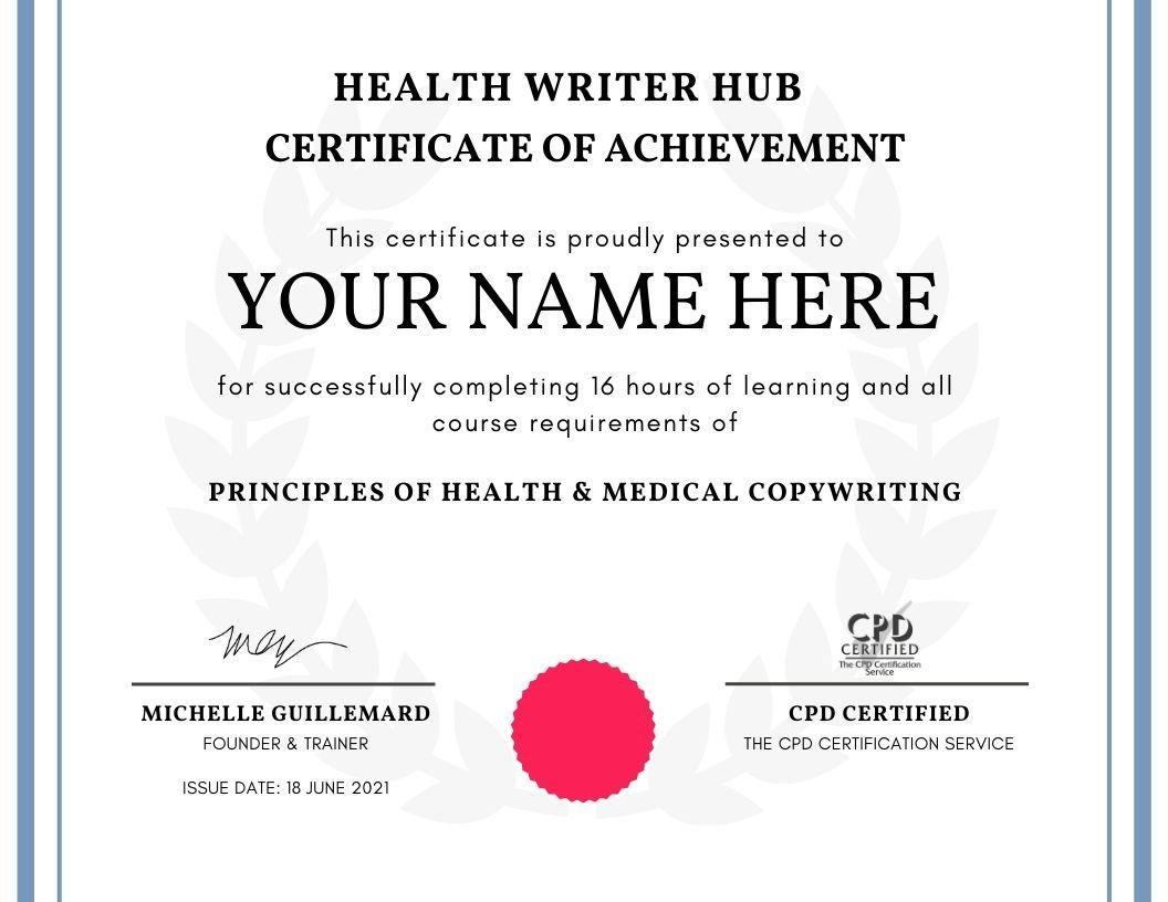 health copywriting certificate